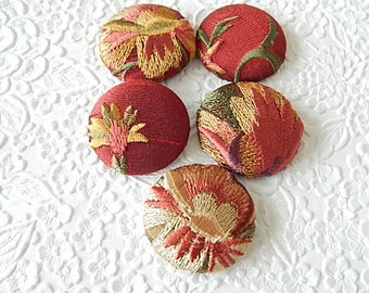 Dark red embroidered fabric buttons, size 60 buttons, set of 5 buttons