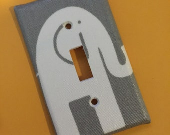 ON SALE Grey Gray White Modern ELEPHANT Switchplate lightswitch outlet covers