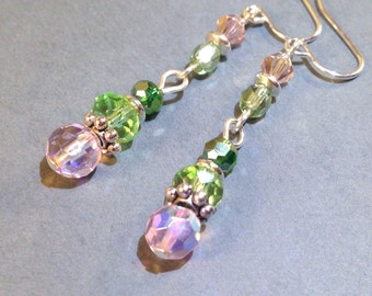 Pink And Green Glass Silver Earrings - AB Czech Crystal - Dangle Earrings - Stone Earrings - Boho Jewelry - Pierced Earrings - Gift for Her