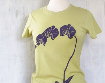 Womens Graphic T Shirt - Organic Cotton Jersey T Shirt - Womens Tee Shirt - Spring Green Tee Shirt - Ladies Screen Printed TShirt- Orchid