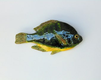 Bluegill cramic fish art decorative wall hanging