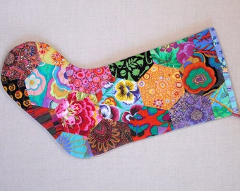 Quilted Christmas Stocking - Hexagons 3 - Kaffe Fassett Prints