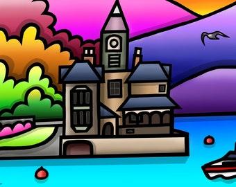 The Clockhouse, Barmouth - colourful fine art print by Amanda Hone