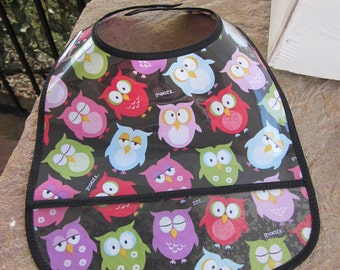 WATERPROOF WIPEABLE Baby to Toddler Wipeable Plastic Coated Bib Multi Colored Owls on Black