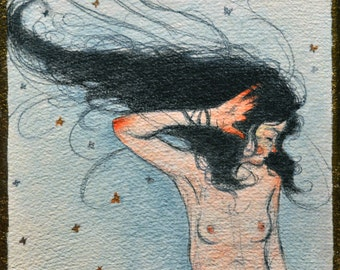 "Female Nude Figure painting called ""Flutter"""