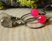 rainbow mystic quartz and hot pink chalcedony - oxidized sterling silver earrings