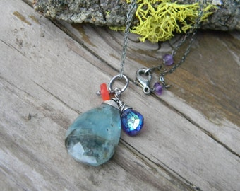 rustic aquamarine necklace - oxidized sterling silver