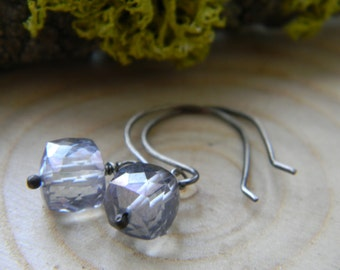blue mystic quartz cube dangle earrings - oxidized silver dangles