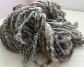 RESERVED - Curly Handspun Yarn, Super Bulky - SILVER LINING - Lincoln Wool Locks, Art Waldorf Doll Hair Knitting Crochet Weaving