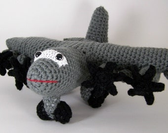 hc 130 J aircraft ,  Crocheted Amigurumi Military hc 130J aircraft , stuffed airplane toy  MADE TO ORDER