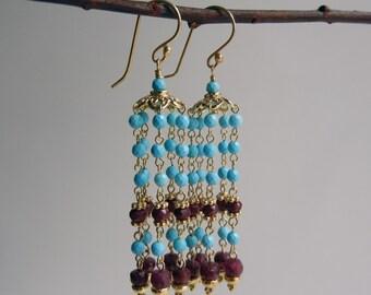 Turquoise and Ruby Mohana I Earrings