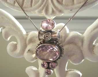 Kunsite (lab created) and Sterling Silver Pendant with Chain.  18 Inch Station Chain.