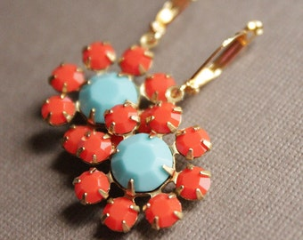 Coral & Turquoise Crystal Earrings - Brass - Gold Plated Leverback Earwires