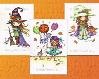 Three Whimsical  Halloween Illustrations- Original Mixed Media Illustrations by Molly Harrison - Halloween, witch, balloons