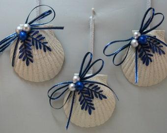 Christmas Decorations, SEASHELL ORNAMENTS, Faux Scallop Shell,  Nautical Christmas Decorations, Christmas Ornaments Set of 3