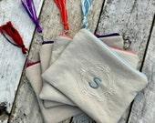 Classic linen monogrammed zipper pouch