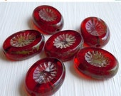 25% OFF Summer Sale Czech Picasso Beads Chunky Oval - Ruby Picasso Czech Glass Beads - 6 (G - 592)