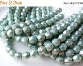 25% OFF Summer Sale Czech Glass Bead 6mm Faceted Round Bead - Halo Ethereal - Heavens - 25