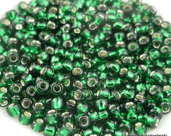 "TOHO Glass Beads - 8/0 Beads - 2.5"" Tube - Silver Lined Green Emerald"