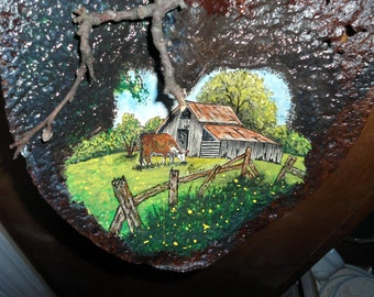 Watercolor painting on old rusty shovel  painting of farm scene,old rusty shovel painting,pasture with cow,farm scene,worn tattered shovel