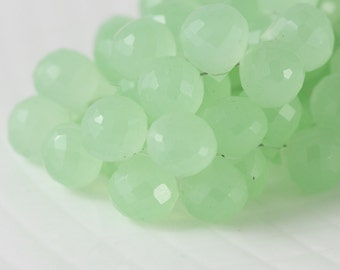 Lime Green Chalcedony Briolette Beads, AAA Quality Micro Faceted Beads - Large Teardrop Onion Shaped Beads - 7 inch strand - Item 357