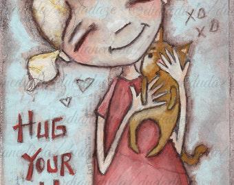 Print of my original mixed media folk art painting -Hug Your Cat - by Diane Duda