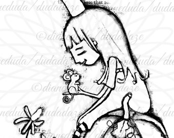 She Met Him in the Garden Princess and Mouse Digital Stamp - Printable - Art to Color by Duda Daze
