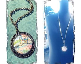 Vintage Map Oakland California Glass Pendant Necklace - Oxidized Brass Chain Handmade - Jack London Square - Lake Merritt - Studio La Touche