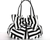 custom order for VeritablyV ,Black and white bow bag  with scarlet red lining