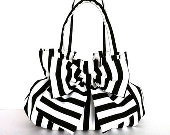 Fabric bow purse , black and white bow bag , vegan handmade  handbag , striped purse , fabric bag with bow , day bag , office fashion purse