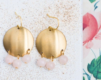 Golden Brass and Pink Quartz Chandelier Earrings, Pink quartz Earrings, Gold and Pink Earrings