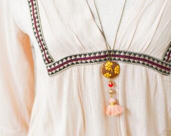 Brown Calico Tassel Necklace, Vinatge calico Necklace, Tassel Necklace