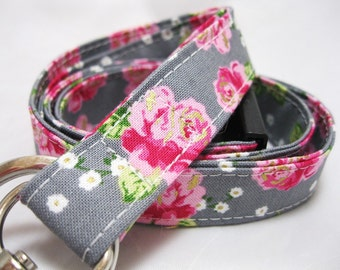 Lanyard, Badge Holder, ID Holder, Breakaway Lanyard, Fabric Lanyard, Teacher Lanyard, Rose Floral Grey