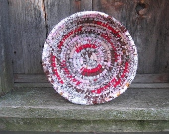 WINTER PINK Textile  art BASKET  BoWL