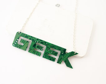 Circuit Board GEEK Necklace - Geeky Name Necklace - Nameplate Jewelry - Large Statement Necklace