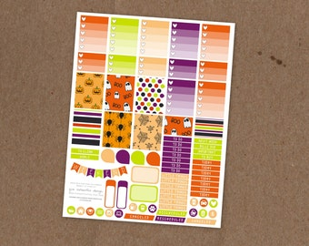 Printable Cartoon Halloween Weekly Planning Kit- Ombre Check Boxes, Icon Stickers, Pattern boxes - ECLP, MAMBI Happy Planner, Filofax