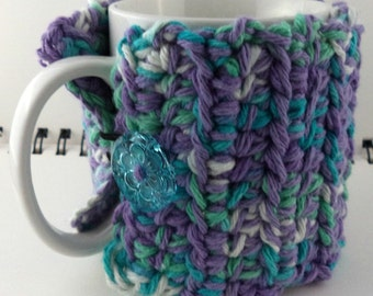 Crocheted Coffee or Ice Cream Cozy, Cool Colors (SWG-Z20)