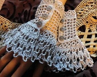 Gray Victorian Steampunk Gothic Crochet Lace Lace Wrist Cuffs