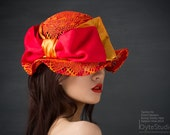 Kentucky Derby Hat - Red and Orange Straw Hat with Large Silk Bow