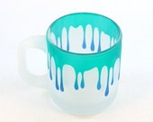 SUMMER SALE Dripping Coffee Mug - Frosted Style - Etched and Painted Glassware - Custom Made to Order