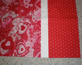Valentine Hearts Pink and Red Print Standard Size Bed Pillow Case