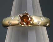 Reserved/sold to Gina......14K mounting only...Vintage 14K Gold, Cognac Diamond Center with .70 tcw Diamond Engagement Ring