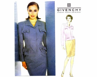 Givenchy Top Skirt Suit John Galliano Vogue 1889 Sewing Pattern Size 6 - 8 - 10 Bust 30 1/2 - 31 1/2 - 32 1/2 UNCUT