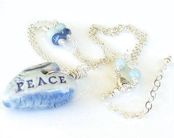 Blue Heart Sterling Silver Necklace Blue Ceramic Heart Peace Necklace Kyanite Gemstones Amazonite Gemstones