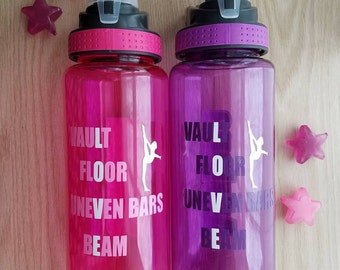 GYMNASTICS Personalized Water Bottle - Chose Assorted Colors and Name
