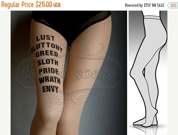 15%SALE/endsAUG30/ small/medium 7 Deadly Sins tattoo stockings / full length / pantyhose / nylons CAFE Latte