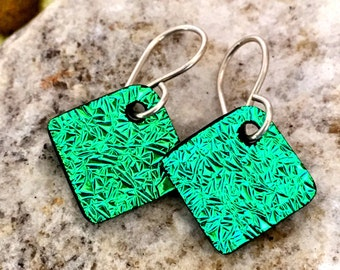 Green DICHROIC EARRINGS Simple Little Sterling Silver & Crinkled Fused Glass