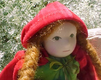 First Doll Little Red (or Pink) Riding Hood, Waldorf Doll, custom order