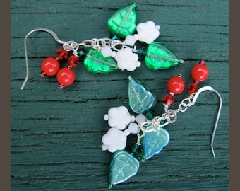 Red Green Christmas Holly Earrings by Cornerstoregoddess