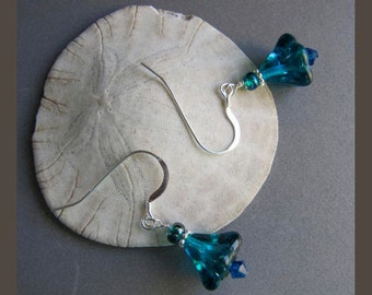 Aqua Turquoise Glass Flower Earrings